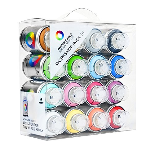 mtn-colors-water-based-spray-paint-workshop-pack-16-x-100ml-cans-by-montana-colors