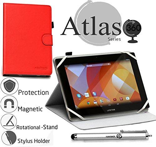 Navitech stilvolles rotierbares 10 Zoll Stand Case Cover Hülle in Rot mit Stylus Pen für das Odys Lux 10 Tablet-PC