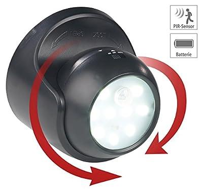 Luminea Runde Taschenlampe: Kabelloser LED-Strahler, Bewegungssensor, 360° drehbar, 100 lm,schwarz (LED-Strahler für Kabellose Beleuchtung mit Bewegungsmelder)