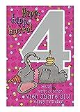 Depesche 5698.008 - Glückwunschkarte mit Musik, 4. Geburtstag, pink