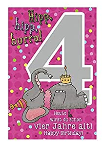Depesche 5698.008Tarjeta de felicitación con música, 4. Cumpleaños, Rosa