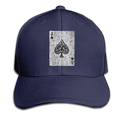 Yutirewer Ace of Spades Card Vintage Adult Adjustable Snapback Hat Sandwich Peaked Trucker Cap Baseball Cap Unisex Black Sandwich Spade