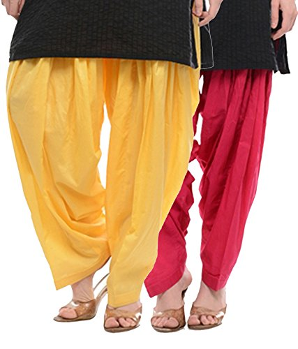 NGT Lemon Yellow And Rani Pink Pure Cotton Patialas For Womens