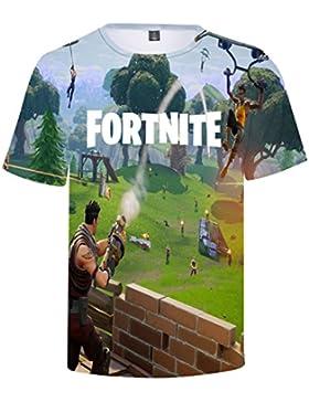 EMILYLE Niño Fortnite PVP Pullover T-Shirt Unisex Fortnite Llamas Game Scene Impreso Figura Manga Corta Camisas...