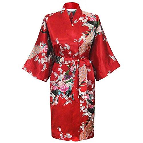 Nighty & Kimono Bademantel Chinese Janpanes, Damen Bademantel/Morgenmantel, Seide, Peacock Rot - Rot