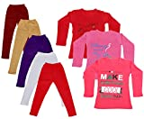 IndiWeaves Girls Cotton Full Sleeves Printed T-Shirt and Cotton Legging (Pack of 8)_Maroon::Beige::White::Purple::Red::Red::Red::Pink_Size: 15-16 Year