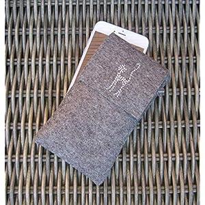 zigbaxx Handyhülle Handytasche Filz für iPhone X 10/8/7/6, iPhone 8 plus/7/6, Smartphone-Hülle CAT handmade WollFilz mit Katze Strass - pink anthrazit-schwarz beige grau braun Geschenk Katzenliebhaber