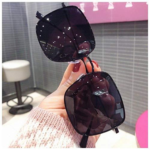 Big Box Sonnenbrille Damen Sonnenbrille wilde Mode polarisierte Brille Sonnenschirm Spiegel Goldrahmen Tee Spiegel Box Spiegel Spiegeltuch, schwarzer Rahmen schwarzer Film _ Spiegel Box + Spiegeltasc