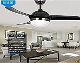 Restaurante, ventilador de techo, lámpara LED simple ventilador, sala de estar con ventilador de techo, el ventilador, el ventilador del control remoto, lámpara colgante,negro perla