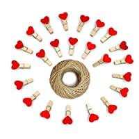100Pcs Wooden Heart Pegs, Mini Photo Paper Clips with Jute Twine for DIY Decorations
