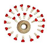 Heart Pegs, Photo Clips, 100 piezas Mini Clothespins de madera, Photo Paper Clips rojos con 30 metros de yute Twine para decoraciones de bricolaje