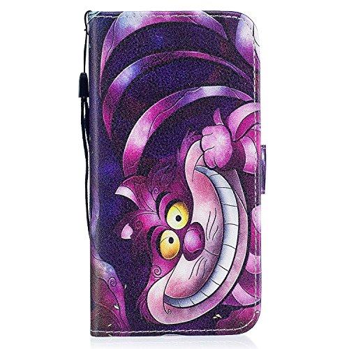 ocketcase Bq Aquaris V Plus/VS Plus (5,5 Zoll) Hülle, PU Leder Tasche Hülle Schutzhülle Case Cover Wallet im Bookstyle mit Magnetverschluss Telefon-Kasten Handyhülle Standfunktion - Lächeln Katze