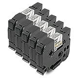 5X SchriftbandKassette Brother P-Touch für Tape TZE-131 TZE131 TZ-131 TZ131 TZ 131 12mm Schwarz auf Transparent für Brother P-Touch GL-100 PT-1000 PT-1000BM PT-1010 PT-1010B P-Touch 1000W