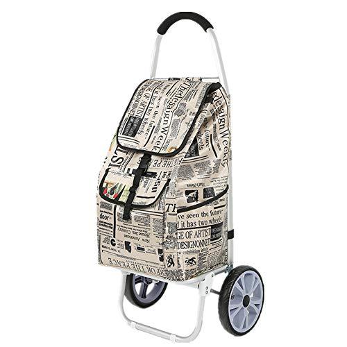 Gwllr all'aperto alluminio trolley per la spesa cestini per la spesa con 2 rotelle lavanderia carrello di stoccaggio portatile shopping picnic in viaggio,5
