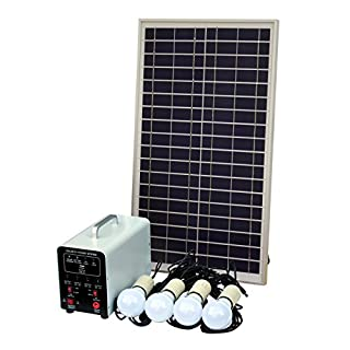 25W Off-Grid Solar Lighting System with 4 x 5W LED Lights, Solar Panel, Battery and Cables - Complete Solar Lighting Kit for a Shed, Garage, Outhouse, Stables, Barn, Vehicle or Boat