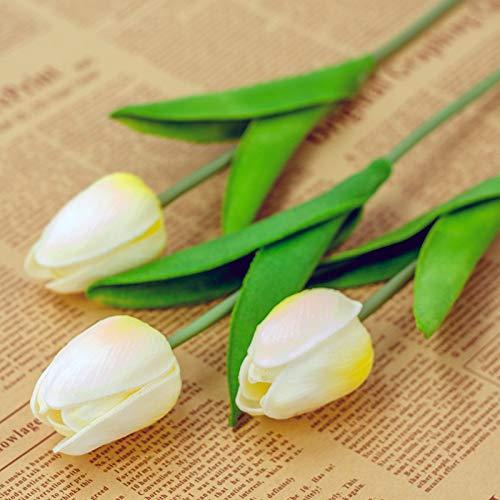 Haar Kostüm Jasmin - Jun7L Künstliche Deko Blumen Gefälschte Blumen Blumenstrauß Seide Tulpe Wirkliches Berührungsgefühlen, Braut Hochzeitsblumenstrauß für Haus Garten Party Blumenschmuck 10 Stück 34X5CM