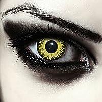 "Lentillas de color amarillo para Halloween Pennywise disfraz de doce mes sin dioprtías / corregir + gratis caso de lente ""Yellow Fear"""
