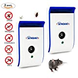 Ultrasonic Pest Repellent,SENQIAO Electronic Insect Repeller Control, Repellent for Rodent Bugs Cockroach Mosquitos Fleas Ants Spiders Mouse Mice(2)