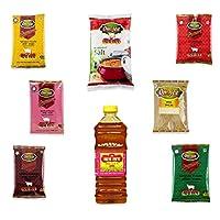 JEE OM JEE MEGA Family Pack - HALDI Powder (200GM), DHANIYA (200GM), Garam Masala (100GM), AMCHUR Powder (100GM), Chilli Powder (500GM), JEERA (200GM), Salt (4KG), Mustard Oil (1LTR) Combo Pack of 8