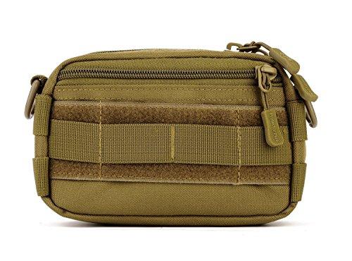 Huntvp® Kleine Molle Tasche Taktisch Utility Pouch EDC Zusatztasche Militär Pouch Mini Werkzeugtasche für Rucksack Multifunktional Schultertasche Crossbody Umhängetasche - Braun