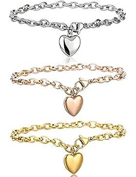 Besteel Edelstahl Herz Armband Damen Armkette Frabesilber Gold Rosegold 19cm
