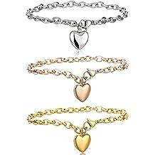 Besteel Bracelets en acier inoxydable chaîne pour les femmes avec fini  Bracelet Coeur Charm19cm