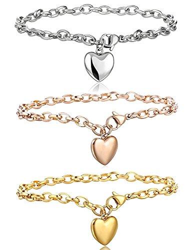 Besteel Pulseras de Acero Inoxidable Cadena de Enlace para Las Mujeres con Acabado Pulsera corazón Encanto 19cm