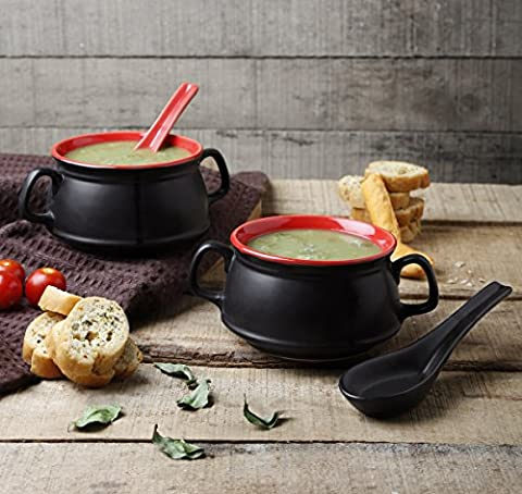 2-Piece Ceramic Soup Bowl Studio Pottery for Supper Noodles Cereal Handcrafted with Spoon Black Mug Cup Serveware
