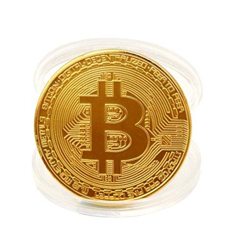 QUINTRA 1 x Gold überzogene Bitcoin Münze Sammlerstück BTC Münze für physische Kunst Sammlung Geschenk