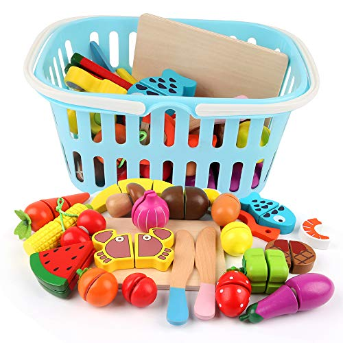 BeebeeRun Wooden Play Food with Shopping Basket,Cutting Fruit and Vegetables,Kitchen Pretend Toys for Kids 3 Year Olds Girls Boys +