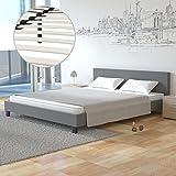 Homelux Polsterbett Doppelbett Bettgestell Bettrahmen Kunstleder 140 x 200 cm Grau