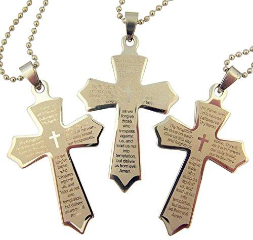 Edelstahl Kreuz Anhänger mit Lasergravur Vater Unser Gebet, 5,1cm, 3Stück
