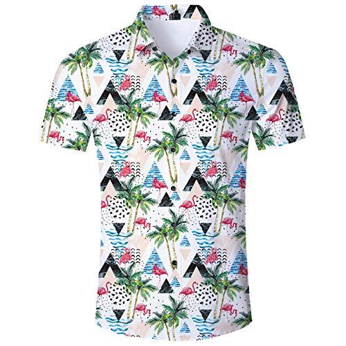 AIDEAONE Herren Flamingo Hawaiihemd Kurzarm Urlaubs Hemd Mode Plus Größe -
