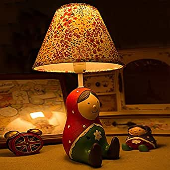 Collection matryoshka poupee russe poupée lampe de chevet, de petits motifs rouges en résine