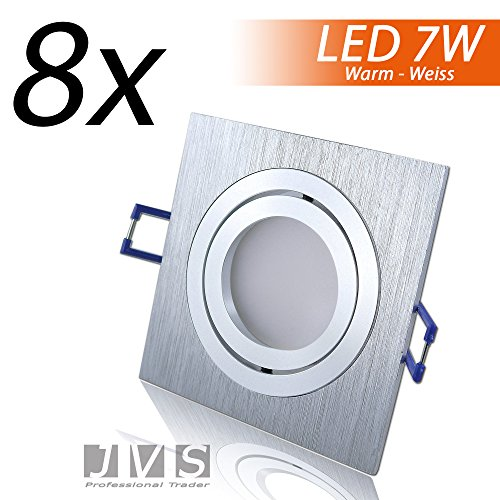 Faretti per soffitto ad incasso STAR SILBER a LED, Q 230V SMD 7W, neri a specchi, colore luce: bianca calda, con attacco GU10 e cavo da 15 cm moderno Set da 8