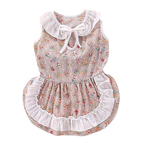 PanDaDa Pet Summer Dekoratives Kostüm, Dog Girls Cotton Sweet Floral Sleeveless Weste Rock Floral Sleeveless Rock