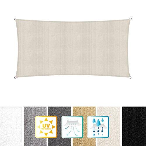Lumaland toldo vela de sombra 100% polietileno de alta densidad filtro UV incl cuerdas nylon 2x4 crema