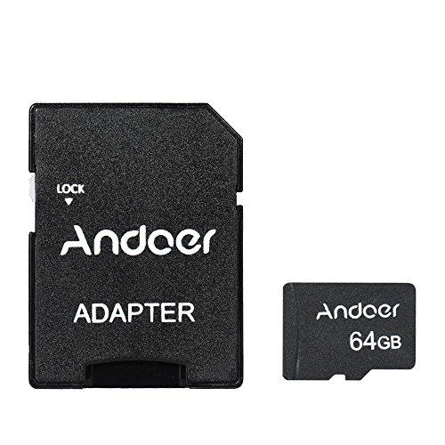Andoer 64GB Tarjeta de Memoria Micro SD Clase 10Tarjeta TF + Adaptador de Tarjeta TF para cámara Camera Car móvil Mesa PC Audio Player GPS