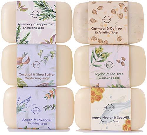 Pastillas de Jabón Orgánico , Hidratante con Aceites Esenciales, Aceite de Argan ,Manteca Karite, Jabón de manos y cuerpo. Jabones naturales Vegano , Triple molido francés. 6 unidades x 115 gr