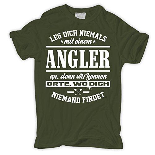 Männer und Herren T-Shirt Leg dich nicht mit einem ANGLER an