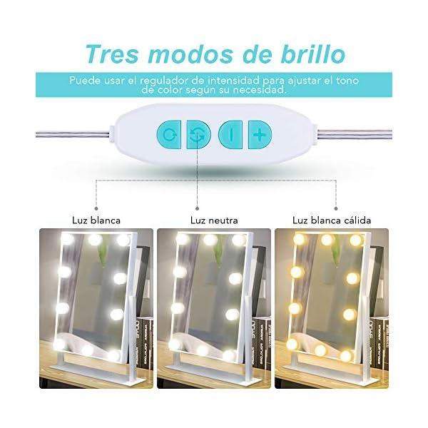 Anpro Luces LED Kit de Espejo con 10 Bombillas regulables,3 Modos Ajustable de Color de Luz,Luz Espejo Maquillaje…