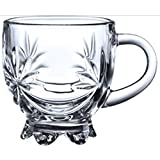 Transparent Glass Tea & Coffee Cups Mug FLOWER Crystal Mugs (Set Of 6) By Pratham Enterprises