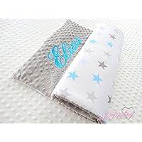 ★ Sterne Babydecke mit kuscheligen hellgrauen Plüsch Minky, Personalisierung mög.