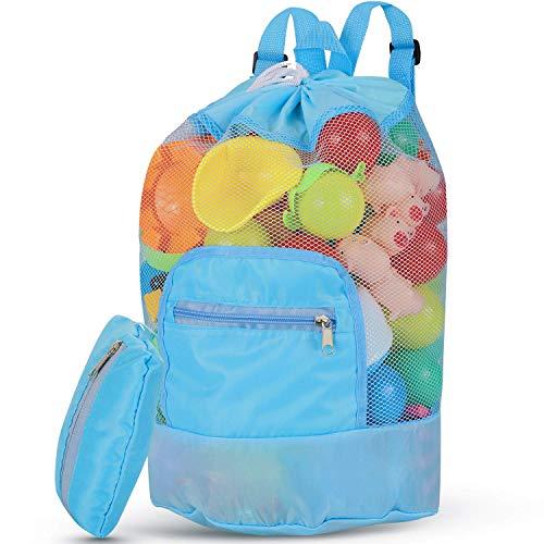 SeWooo Strandspielzeug Tasche, Strandtasche Mesh Beach Bag Sandspielzeug Wasserspielzeug Rücksack Beutel für Kinder Badetasche groß für Familie Urlaub (Blau)
