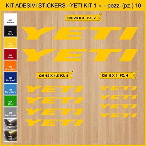 Pimastickerslab Aufkleber Fahrrad YETI_ KIT 1 Kit Aufkleber Stickers 10 Stück – bici Bike Cycle wählbar Cod.0905 (021 GIALLO)