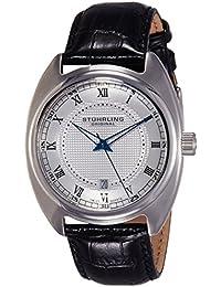 Stuhrling Original Juego Veinte Hombre Reloj de cuarzo con Esfera Plateada Pantalla Analógica y Negro Correa de piel 728.01