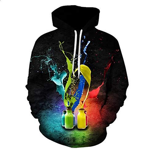 SWETHENG 3D Hoodies Frauen/Männer Pullover Mode Trainingsanzüge Drucken Farbe Tinte Paintsweatshirts Men Hoodie 4XL - Tätowierungs-tinte Billige