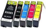 5 Druckerpatronen XL Farbe ersetzen Epson T3351 T3361 T3362 T3363 T3364 Geeignet z.B. für Epson Expression Premium XP-530, XP-540, XP-630, XP-635, XP-640, XP-645, XP-830, XP-900