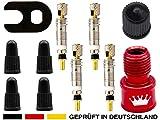 11-Teile Sclaverandventil-Ersatz Set: FahrradVentil-Einsätze + Adapter Auto-Ventil Luft-Pumpe Kompressor Aufsatz + Schraubenschlüssel + Ventilkappe, französische Presta Sclaverand SV Rennrad-Ventile