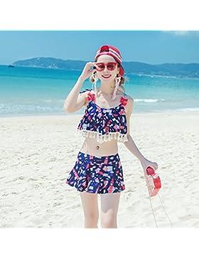 HAIYOUVK Parent-Child Models Beach Pants Split Skirt Triangle Thin Covered Swimsuit Spa Four-Swimwear,L,Ladies...